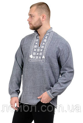 Мужская сорочка-вышиванка Орнамент - серая, фото 2
