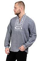 Мужская сорочка-вышиванка Орнамент - серая, фото 1