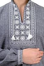 Мужская сорочка-вышиванка Орнамент - серая, фото 3