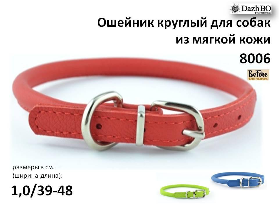 Ошейник круглый для собак из мягкой кожи 10 мм 390-480 мм KareLine Before