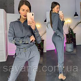 Женский костюм: рубашка с декором и брюки в расцветках. ЛД-21-0319