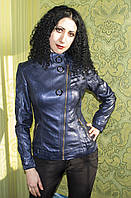 Куртка женская из кожзама косуха синяя