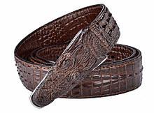 Дизайнерский кожаный ремень «Alligator» коричневый 125 см