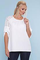 Блуза с гипюром белая пудра синяя большие размеры 48-54, фото 2