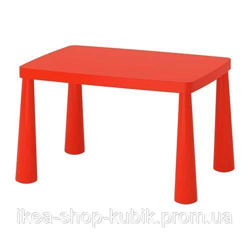 IKEA МАММУТ Стол детский, красный для дома и улицы, 77x55 см