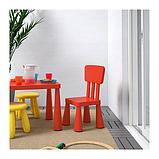 IKEA МАММУТ Стол детский, красный для дома и улицы, 77x55 см, фото 3