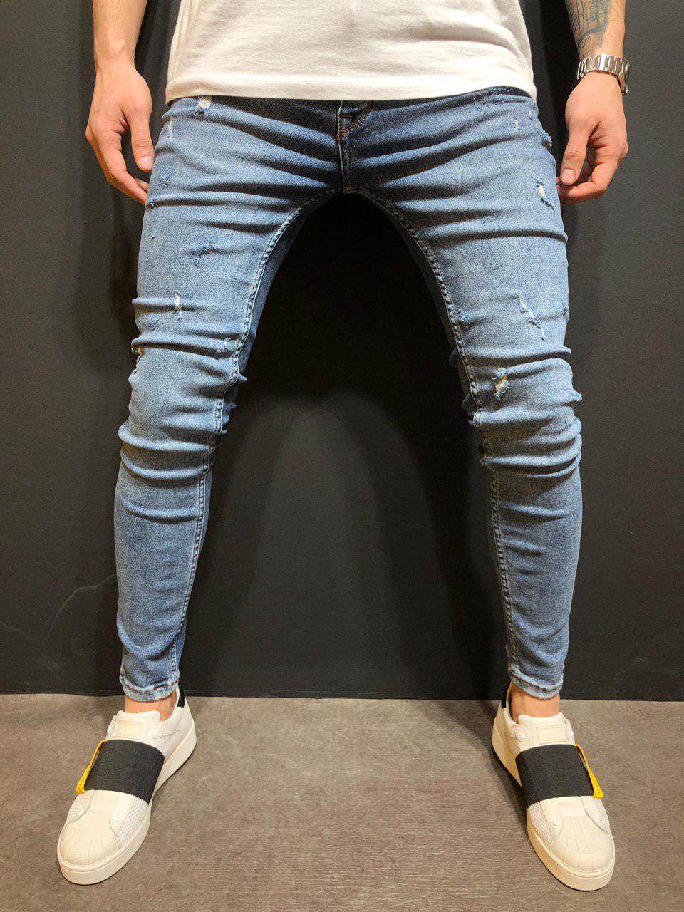 ab511f95640 Джинсы мужские синие рваные зауженные весна лето осень ТОП КАЧЕСТВО мужские  джинсы темно-синие 34