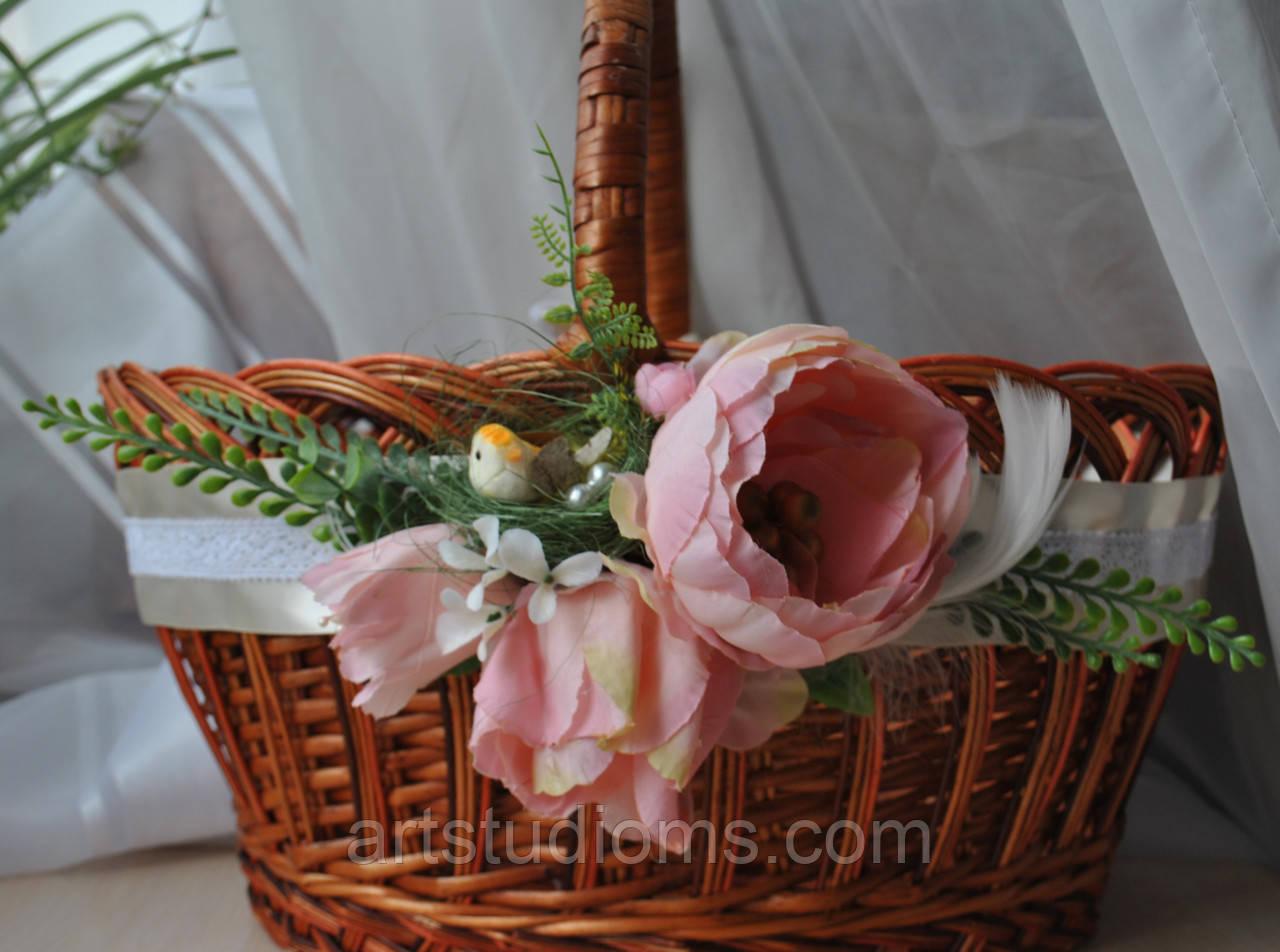 """Декор для Великоднього кошика """"Затишне гнездечко"""". Колір персиковий"""