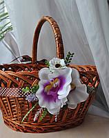 """Прикраса на кошик  """"Орхідея з лавандою"""""""