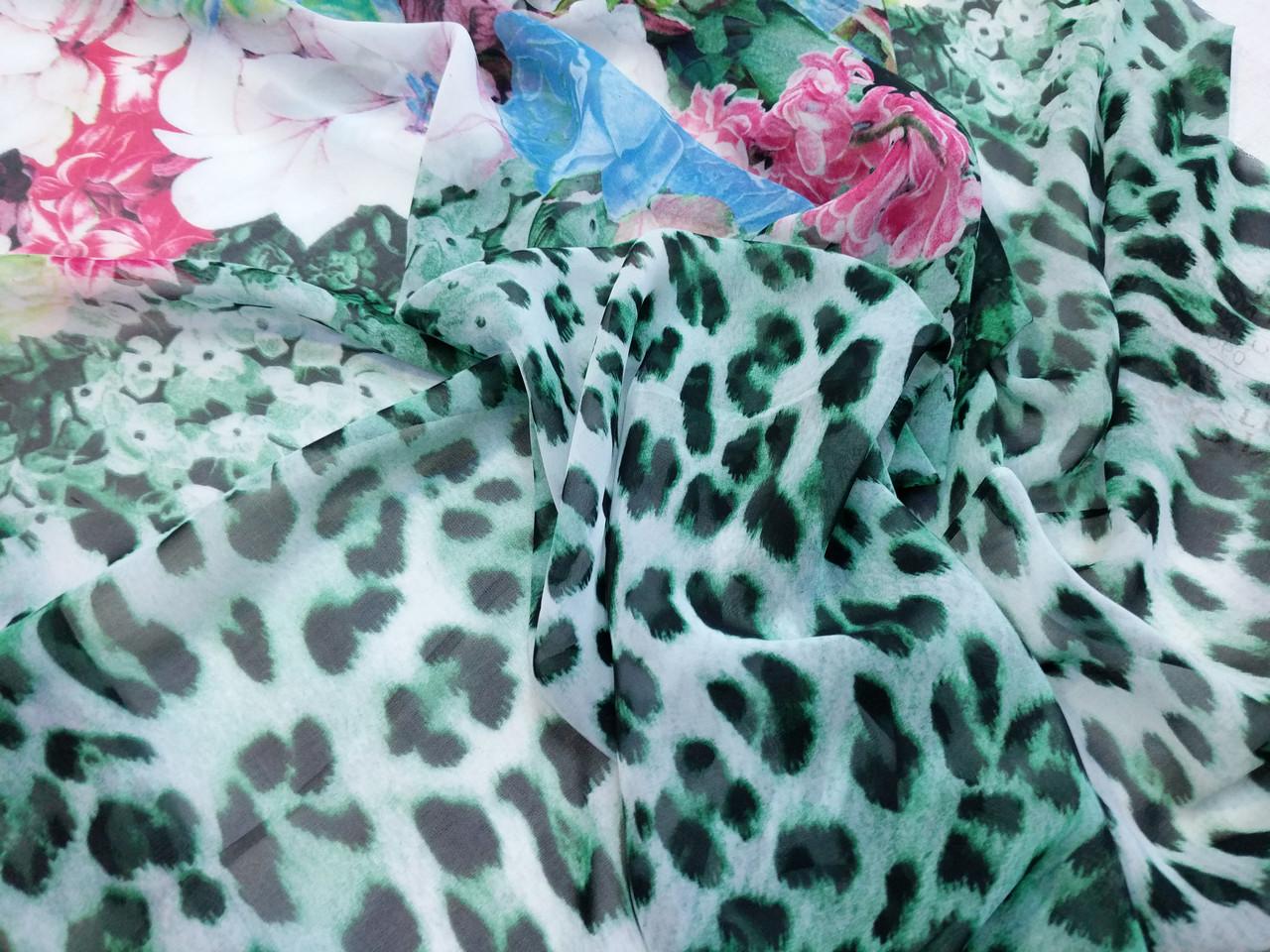 Шифон цветочный купон 30 см, зеленый