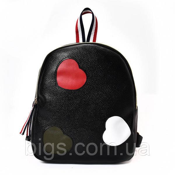 133e60521aa7 Рюкзак городской черный 30х23х11 см Сердечки ( маленькие рюкзаки ) - Bigl.ua