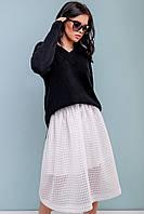 Белая пышная юбка миди из сетки 42-44 размера, фото 1