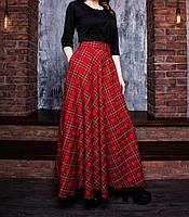 Юбка макси шотландка красная, фото 1