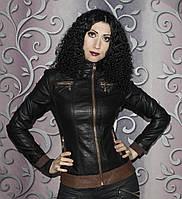 Куртка женская из кожзама косуха черная