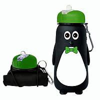Складна пляшка для води SUNROZ Penguin Bottle силіконова Пляшка 500 мл Чорно-Зелений (SUN3712)
