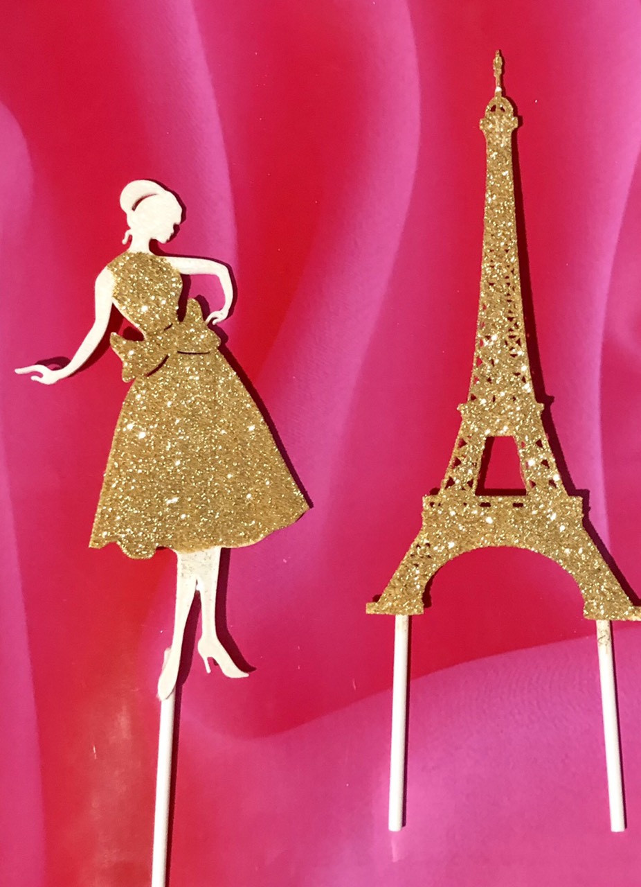 Топпер девушка с эйфелевой башней, золотая эйфелевая башня, фигурки на торт с блестками, ейфелева вежа на торт