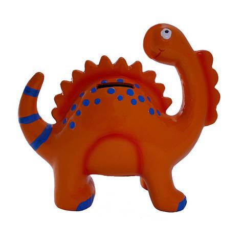 Копилка керамическая, Динозавр, оранжевый, фото 2