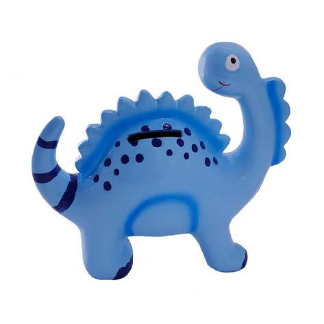 Копилка керамическая, Динозавр, голубой, фото 2