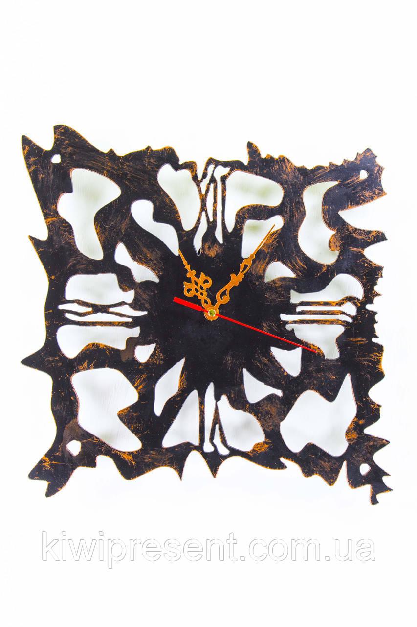 "Часы настенные  ""Атлантида"" 30 см (черный мат + медь)."
