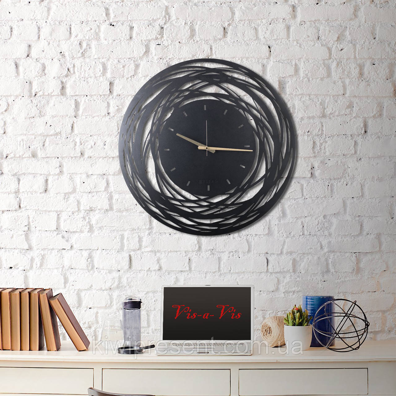 """Настенные часы из металла  """"Нити судьбы"""" (60 см). Дизайнерские часы на стену."""