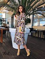 Легкое летнее платье-халат, миди, фото 1