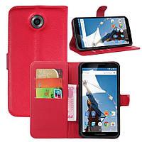 Чехол-книжка Litchie Wallet для Motorola Nexus 6 XT1103 Красный