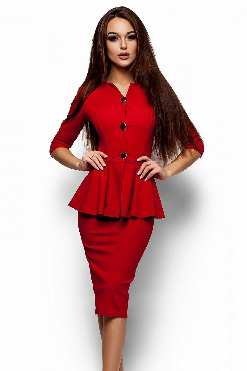 (S, M, L, XL) Стильне офісне червоне плаття Fibi