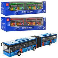 Автобус 632-32 (96шт) металл, 18см, 1:64, рез.колеса, 3 цвета, в кор-ке, 22,5-6-5,5см