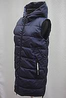 Теплый женский удлиненный жилет