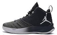 Мужские кроссовки Nike Air Jordan Super Fly 5 Black Grey (найк аир джордан суперфлай, черные/серые)