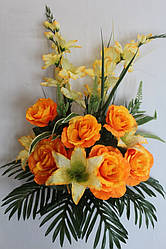 Искусственные цветы - Роза с лилией и гладиолусом композиция, 75 см