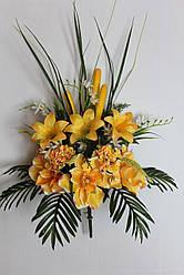 Искусственные цветы - Магнолия с лилией и гортензией композиция, 70 см