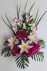 Искусственные цветы - Роза с лилией и каллой композиция, 80 см