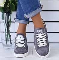 92c634b6c Модные женские замшевые кеды кроссовки на платформе серые белые кожаные  вставки SV76RI03-2NK