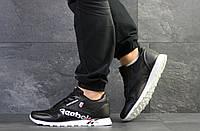 Кроссовки мужские Reebok в стиле Рибок, натуральная кожа, текстиль код SD-7545. Черно-белые