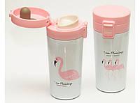 Термокружка Фламінго 380 мл з поїлкою Т130 Flamingo,термочашка, термос з поїлкою