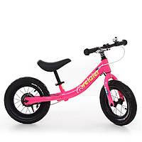 Беговел детский 12 д. W1202-2 (1шт) рез.колеса,метал.обод,розовый