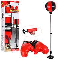 Боксерский набор M 5664 (12шт) груша22см,на стойке102см,перчатки2шт,насос,металл,в кор,16,5-44-8см