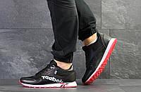Кроссовки мужские Reebok в стиле Рибок, натуральная кожа, текстиль код SD-7553. Черно-белые с красным