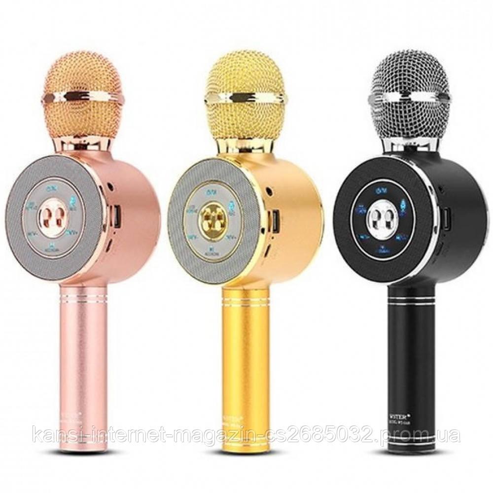 Беспроводной микрофон караоке bluetooth Wster WS-668 с чехлом,  микрофон со встроенной колонкой