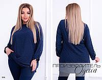Блуза длинная закрытая принт софт 50-52,54-56, фото 1