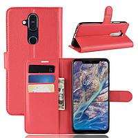 Чехол-книжка Litchie Wallet для Nokia 7.1 plus Красный