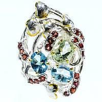 Кольцо ручной работы с Зеленым Аметистом (Празиолитом), Голубыми Топазами и Гранатами