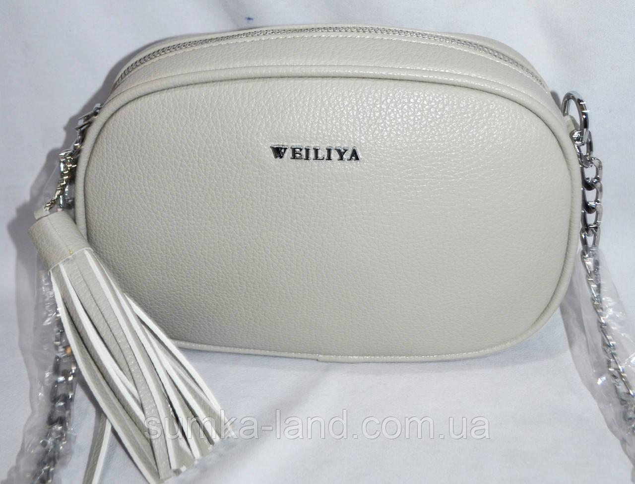 7d5871849f49 Женский овальный клатч с кисточкой на ремешке 22*15 см серый ...