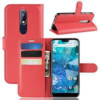 Чехол-книжка Litchie Wallet для Nokia 7.1 Красный