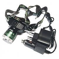 Налобный фонарик Bailong Police BL 6902-2, фонарик с UF диодом, УФ фонарь налобный,Фонарик тактический