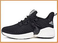 Женские кроссовки Adidas Alphabounce Instinct Black White (адидас альфа боунс, черные / белые)