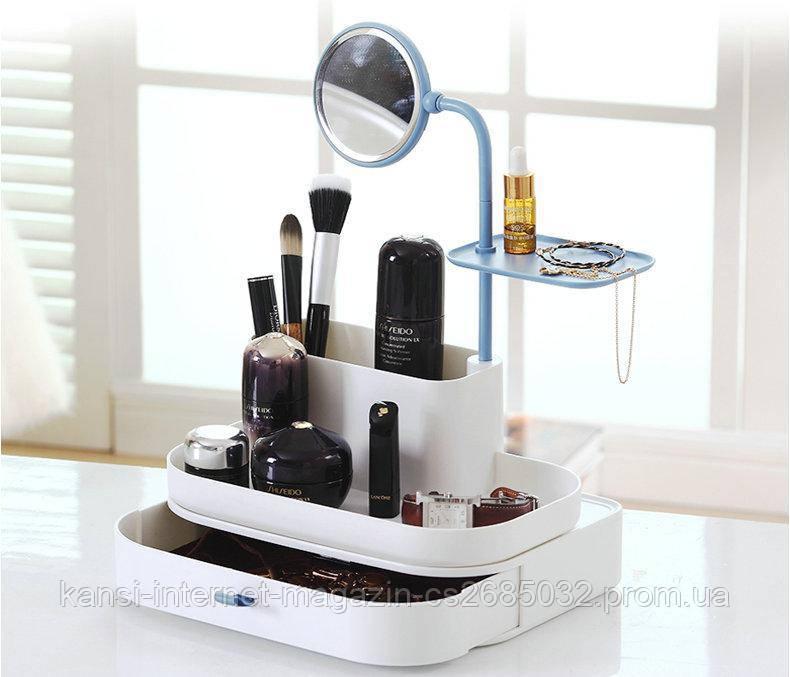 Настольный органайзер для косметики с зеркалом 7009 dresscase with mirrow , органайзер косметичка