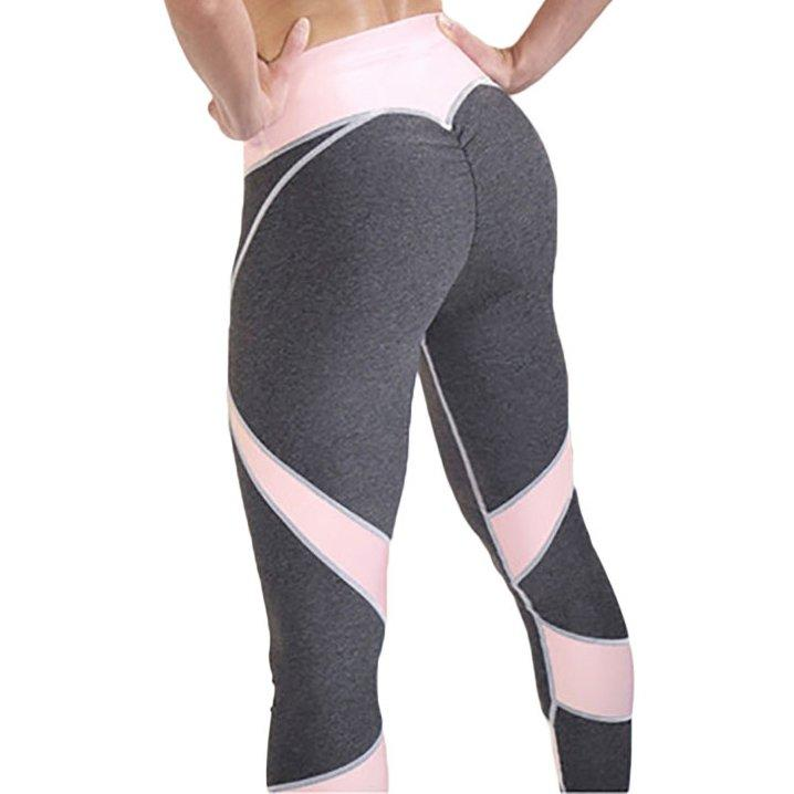 Лосины розово-серые для фитнеса №25 — Размеры  S M L