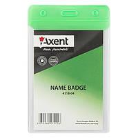 Бейдж Axent 4518 вертикальный, матовый, 67х98 мм Зеленый